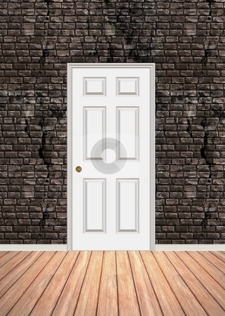 Brick Wall Doorway stock photo, Brick wall interior background with wood parquet flooring and a white door that is closed. by Todd Arena