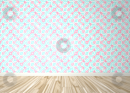 Empty Room Interior stock photo, An empty room interior backdrop with wood parquet flooring and a baroque styled wallpaper pattern. by Todd Arena