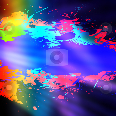 Rainbow Splatter Backdrop stock photo, A grungy looking pain splattered background with drip marks. by Todd Arena