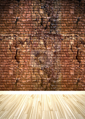 Brick Wall Interior Space stock photo, A grungy brick wall interior background with wood parquet flooring. by Todd Arena