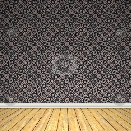 Vintage Room Interior stock photo, An empty room interior backdrop with hard wood flooring and a vintage styled wallpaper pattern. by Todd Arena