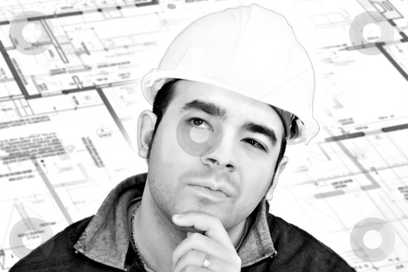 Construction Worker Thinking stock photo, A construction worker or architect wearing a hard hat has a contemplative look on his face with generic blueprints in the background. by Todd Arena