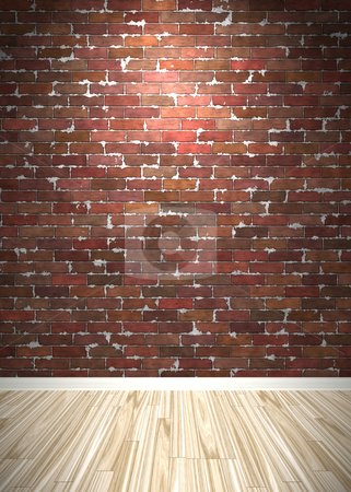 Brick Wall Interior Space stock photo, Brick wall interior background with wood parquet flooring. by Todd Arena