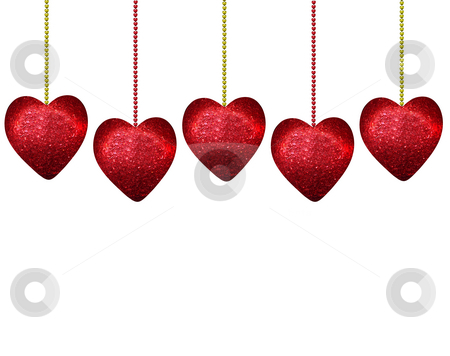Hearts stock photo, Five hanging hearts on white by Jacqui Martin