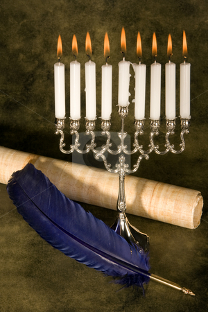 Scroll and quill stock photo, Jewish hanukkah candle-holder, scroll and blue quill by Anneke