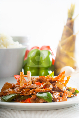Chinese beef and vegetables stock photo, Typical chinese dish,fresh beef stir fried with pepperrs bamboo sprout and mushrooms by Francesco Perre