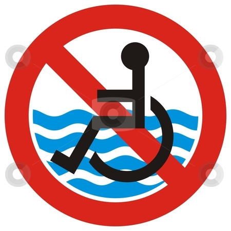 No access beach stock vector clipart, Beach is not accessible to the disabled people symbol by fractal.gr