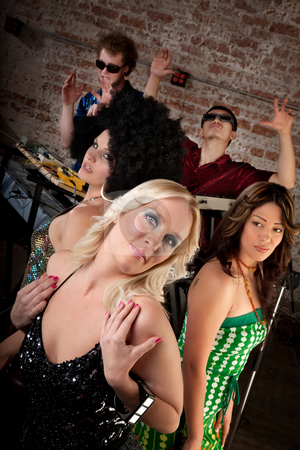 1970s Disco Music Party stock photo, Cute ladies posing at a 1970s Disco Music Party by Scott Griessel