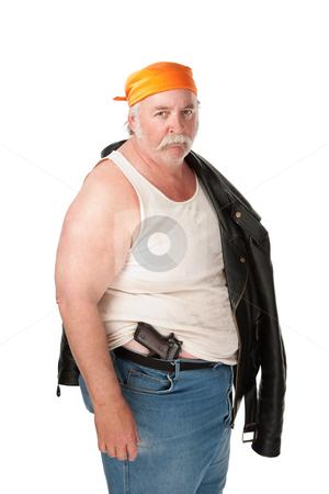 Fat hoodlum with pistol and orange bandana stock photo, Fat hoodlum with pistol and orange bandana by Scott Griessel