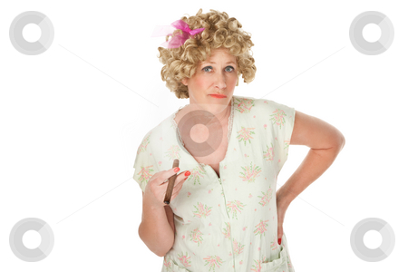 Cigar lady stock photo, Housewife with cigar and hands on hips on white background by Scott Griessel