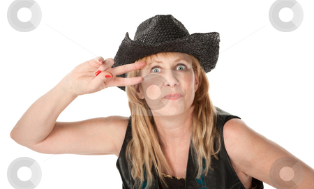 Western woman  stock photo, Tough mature woman with black cowboy hat by Scott Griessel