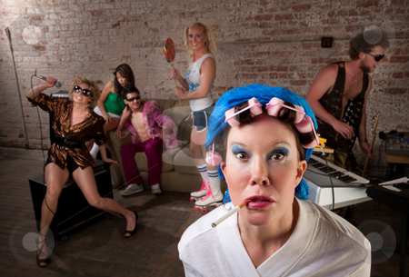 1970s Disco Music Party stock photo, Angry lady in bathrobe crashing a 1970s Disco Music Party by Scott Griessel