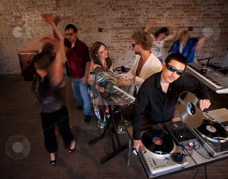 1970s Disco Music Party stock photo, Entertaining and dancing at a 1970s Disco Music Party by Scott Griessel