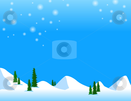 Snow mountain stock photo, Illustration drawing of snow mountain and green tree by Su Li