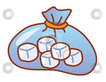 Dice stock photo, Illustration drawing of white dice in a blue purse by Su Li