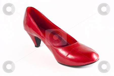 Red stiletto shoes stock photo, Red stiletto shoes isolated on a white background by Hein Schlebusch
