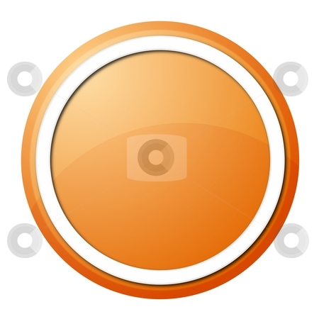 Orange button stock photo, Round button with white ring for web design and pressentation by Henrik Lehnerer
