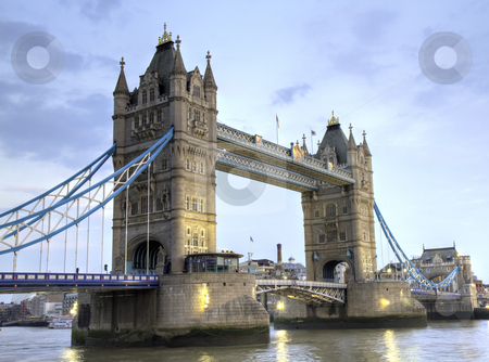 The Tower Bridge of London stock photo, The Tower Bridge of London in the late afternoon, London, England by Juergen Schonnop