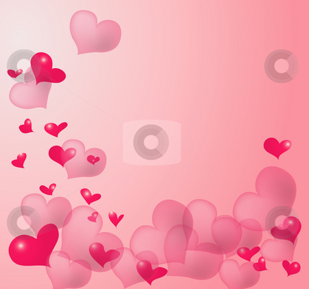 Pink heart background stock photo, Illustration drawing of red heart in a pink backgrund by Su Li