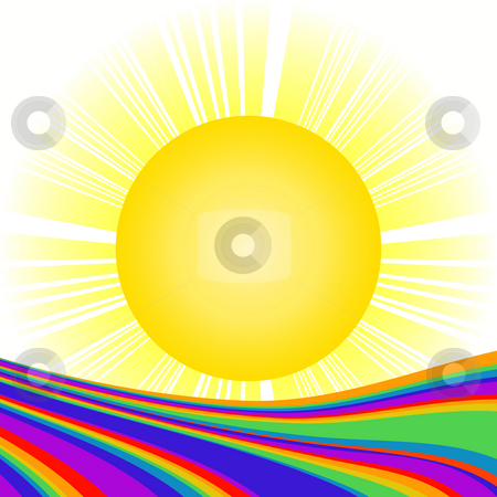 Sun and rainbow stock photo, Sun and rainbow by Richard Laschon