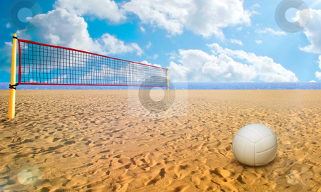 Beach Volley stock photo, Beach Volley ball and net in summer day by Giordano Aita