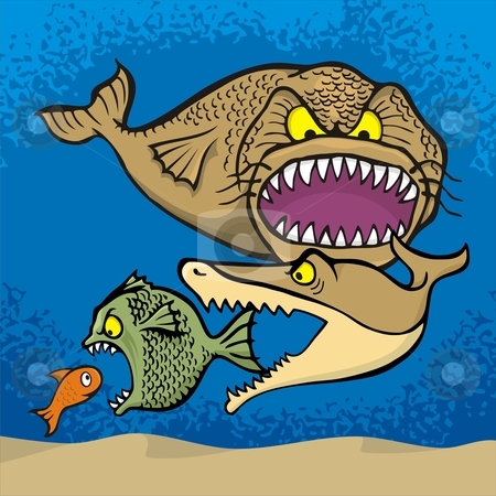 Big fish eats small stock vector clipart, Big fish eats small cartoon illustration. by fractal.gr