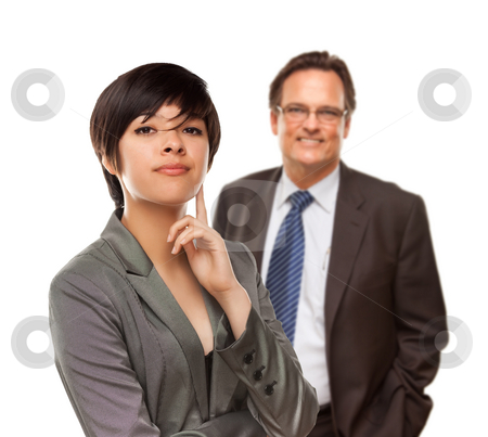 Attractive Businesswoman and Businessman on White stock photo, Handsome Businessman Smiling in Suit and Tie Isolated on a White Background. by Andy Dean
