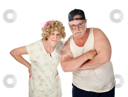 Judgemental stock photo, Judgemental older couple with dirty clothes on white background by Scott Griessel