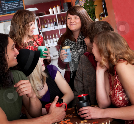Catching up stock photo, Friends catching up with each other at a cafe by Scott Griessel