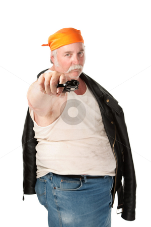 Hoodlum stock photo, Fat hoodlum with orange bandana pointing a pistol by Scott Griessel