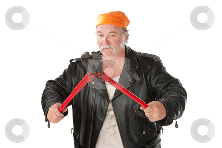 Man with bolt cutter stock photo, Fat hoodlum holding open large bolt cutters by Scott Griessel