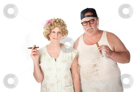 Cigar couple stock photo, Smirking homely couple with cigars on white background by Scott Griessel