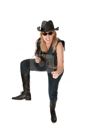 Cowgirl with hat and sunglasses on white background stock photo, Funny cowgirl with hat and sunglasses on white background by Scott Griessel