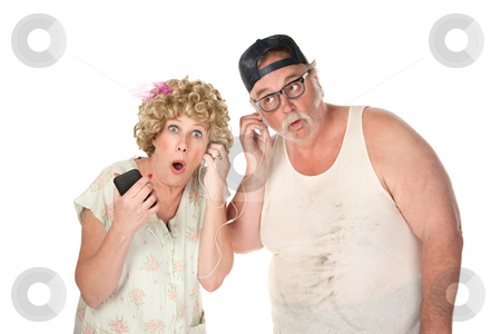 Tuning in stock photo, Older couple tuning in to a contraversial program by Scott Griessel