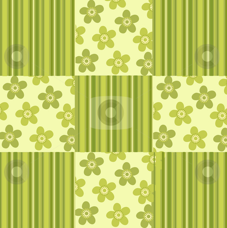 Green flower background stock photo, A beautiful drawing of flowers and strips background by Su Li