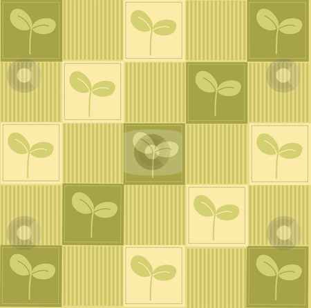 Green seeding background stock photo, A beautiful drawing of green leaves and strips background by Su Li