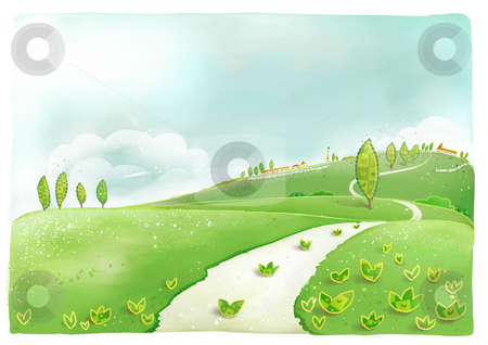 Hill and village stock photo, A beautiful drawing of plant ,road and houses in countryside by Su Li