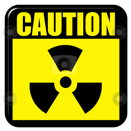 3D Caution Radioactive Sign stock photo, 3d caution radioactive sign isolated in white by Georgios Kollidas