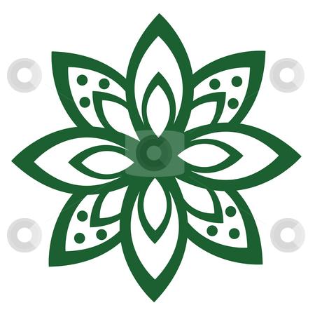 A flower pattern stock photo, Illustration drawing of a beautiful green flower pattern by Su Li