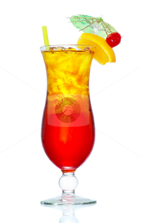 Tequila Sunrise stock photo, Stock image of Tequila Sunrise cocktail over white background. Find more cocktail and prepared drinks images on my portfolio. by iodrakon