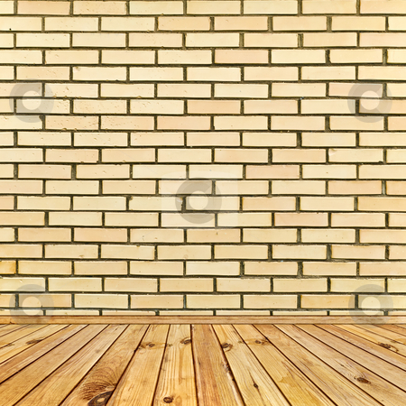 Interior stock photo, Beige brick wall and wooden floor by Sergej Razvodovskij