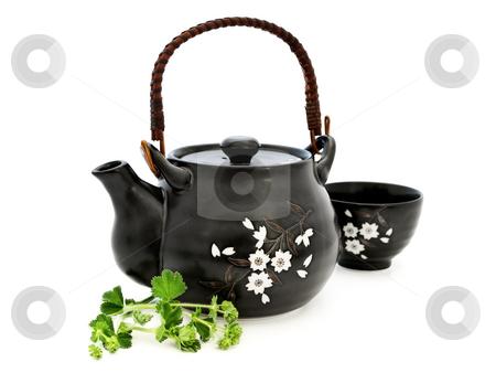 Tea set stock photo, Tea set with greens over the white background by Sergej Razvodovskij