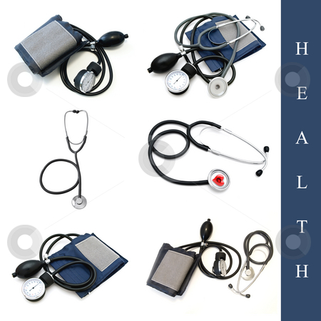 Health set stock photo, Set of different medical tools images over white background by Sergej Razvodovskij