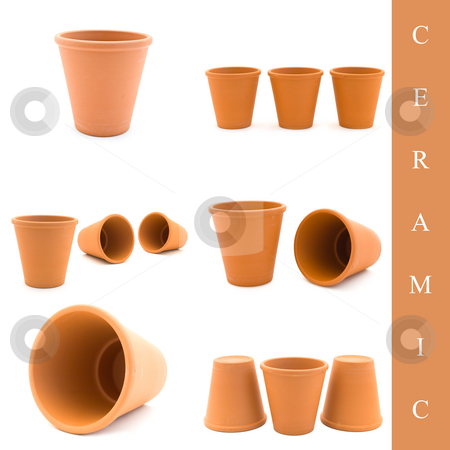 Ceramic set stock photo, Set of different ceramic pots images over white background by Sergej Razvodovskij