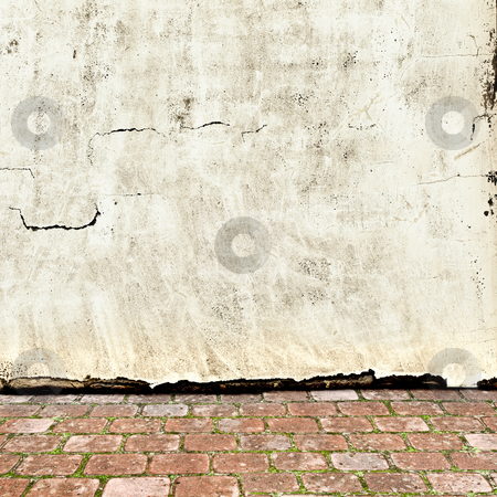 Vintage exterior stock photo, Photo of vintage exterior with brick floor and grunge wall by Sergej Razvodovskij