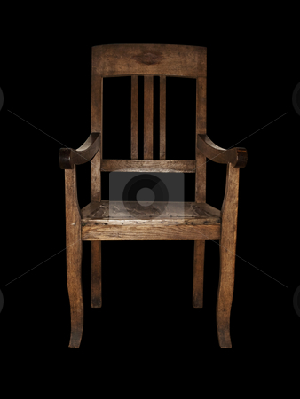 Vintage chair stock photo, Single wooden vintage chair over black background by Sergej Razvodovskij