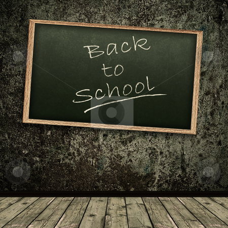 Back to school! stock photo, Photo of abstract grunge shabby background with school blackboard by Sergej Razvodovskij