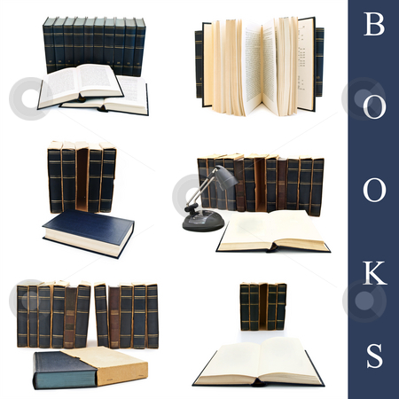 Books set stock photo, Set of different books over the white background by Sergej Razvodovskij