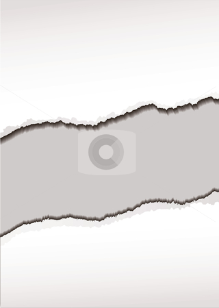 White paper tear stock vector clipart, White paper background with torn or ripped edges and shadow by Michael Travers