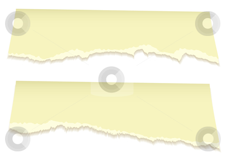 Top torn pages in yellow stock vector clipart, Yellow page top with torn edges and rip effect and shadow by Michael Travers